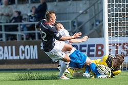 Falkirk's Kyle Turnbull, Morton's Reece Hands and Falkirk's keeper Michael McGovern.<br /> Falkirk 3 v 0 Morton, Scottish Championship 17/8/2013.<br /> ©Michael Schofield.