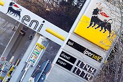 THEMENBILD, Treibstoffpreise steigen, in den vergangenen Tagen sind die Preise für Treibstoff in die Höhe gegangen. Im Bild Preisschilder an einer Eni Tankstelle bei Predazzo, Italien // PICTURE THEMES, rising fuel prices in recent days, the price of fuel went up. In the picture at a Eni gas station price signs at Predazzo, Italy. EXPA Pictures © 2012, PhotoCredit: EXPA/ Federico Modica