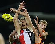 Sam Gilbert of the Saints goes up for a mark during the 2013 AFL round 03 match between the GWS Giants and the St Kilda Saints at Manuka Oval, Canberra. (Photo: Craig Golding/AFL Media)