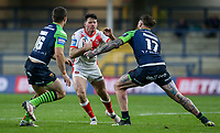 St Helens' Lachlan Coote is tackled by Huddersfield Giants' Chris McQueen<br /> <br /> Photographer Alex Dodd/CameraSport<br /> <br /> Rugby League - Betfred Challenge Cup Quarter Finals - St Helens v Huddersfield Giants - Friday 7th May 2021 - Emerald Headingley Stadium - Leeds<br /> <br /> World Copyright © 2021 CameraSport. All rights reserved. 43 Linden Ave. Countesthorpe. Leicester. England. LE8 5PG - Tel: +44 (0 116 277 4147 - admin@camerasport.com - www.camerasport.com