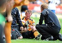 Fotball<br /> England<br /> Foto: Fotosports/Digitalsport<br /> NORWAY ONLY<br /> <br /> Molineux Wolverhampton Wanderers v Sheffield Wednesday  16/08/2008 Championship<br /> <br /> Skipper Jody Craddock (Wolves) goes off injured