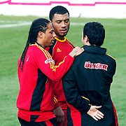 Galatasaray's players Juan Pablo PINO (L) and Colin Kazim RICHARDS (C) during their training session at the Jupp Derwall training center, Thursday, January 13, 2010. Photo by TURKPIX