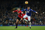 Zlatan Ibrahimovic of Manchester United and Ashley Williams of Everton during the Premier League match at Goodison Park, Liverpool. Picture date: December 4th, 2016.Photo credit should read: Lynne Cameron/Sportimage