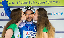 Mountain classification winner Luca Pacioni (ITA) of Androni-Sidermec-Bottecchia celebrates in blue jersey during trophy ceremony after the Stage 2 of 24th Tour of Slovenia 2017 / Tour de Slovenie from Ljubljana to Ljubljana (169,9 km) cycling race on June 16, 2017 in Slovenia. Photo by Vid Ponikvar / Sportida
