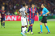 Barcelona Luis Suárez eyes up Patrice Evra of Juventus during the Champions League Final between Juventus FC and FC Barcelona at the Olympiastadion, Berlin, Germany on 6 June 2015. Photo by Phil Duncan.