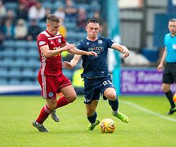 Ayr United's Declan McDaid and Dundee's Jordan Marshall. Dundee 1 v 0 Ayr United, Scottish Championship game played 10/8/2019.