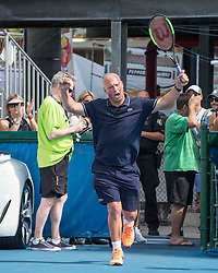 November 5, 2017 - Delray Beach, Florida, US - LUKE JENSEN, Tennis Coach and ambidextrous former tennis pro, enters the Delray Beach Stadium and Tennis Center, during the 2017 Chris Evert/ Raymond James Pro Celebrity Tennis Classic. Chris Evert Charities has raised more than $23 million in an ongoing campaign for Florida's most at-risk children. (Credit Image: © Arnold Drapkin via ZUMA Wire)