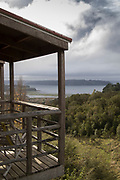 View from balcony of Hotel Parque Quilquico for hills and sea, Chiloe Island, Chile
