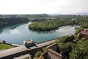 Il fiume Adda davanti alla centrale idroelettrica Taccani a Trezzo, visto dalla torre del castello visconteo...A bight of Adda river near the hydroelectric plant Taccani, view from the tower of Visconti castle.