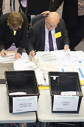 © Licensed to London News Pictures. 5/5/2017. Birmingham, UK. Birmingham Mayor Election results held at the Barclaycardarena, Birmingham. Pictured, counting boxes for second round between ANDY STREET and SION SIMON. Photo credit : Dave Warren/LNP