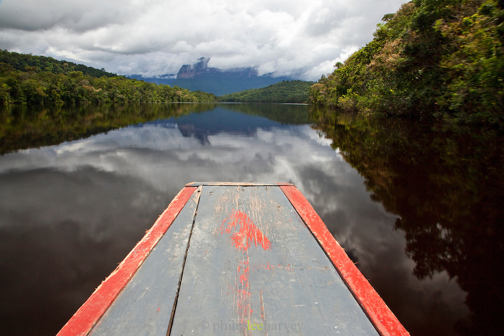 The bow of a dugout canoe, travelling on the Canaima River towards Angel Falls, Canaima National Park, Venezuela