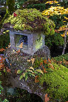 Stone Lantern With Moss at Shoyo-en - Ishidoro lanterns are usually used to decorate Japanese gardens, shrines and temples rather than for providing light, although occasionally they are lit up with candles inside during festivals.   Ishidoro Lanterns were introduced to Japan via China in the 6th century.  The earliest lanterns, found only in temple grounds, were designed to hold the flame representing Buddha.  Light  helps us overcome the darkness of ignorance. Ishidoro were originally used at temples, gardens and shrines.  Around the 16th century stone lanterns were adopted  and placed in the gardens of teahouses.