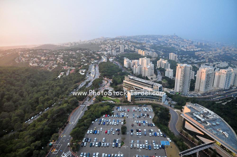 Israel, Haifa, Elevated view of the city on the top of the Carmel mountain from the Eshkol building at the Haifa University
