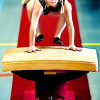 Nederland, Den Bosch, 02-06-2012.<br /> Special Olympics, Spelen voor geestelijk gehandicapten.<br /> Turnen, Vrouwen. Sprong.<br /> Foto : Klaas Jan van der Weij