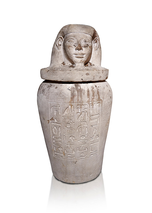 Ancient Egyptian Imesty or Amset Canopic Jar,  New Kingdom,  Egyptian Museum, Turin. White background<br /> <br /> The canopic jars were four in number, each for the safekeeping of particular human organs: the stomach, intestines, lungs, and liver, all of which, it was believed, would be needed in the afterlife. Imsety, the human-headed god representing the South, whose jar contained the liver and was protected by the goddess Isis. .<br /> <br /> If you prefer to buy from our ALAMY PHOTO LIBRARY  Collection visit : https://www.alamy.com/portfolio/paul-williams-funkystock/ancient-egyptian-art-artefacts.html  . Type -   Turin   - into the LOWER SEARCH WITHIN GALLERY box. Refine search by adding background colour, subject etc<br /> <br /> Visit our ANCIENT WORLD PHOTO COLLECTIONS for more photos to download or buy as wall art prints https://funkystock.photoshelter.com/gallery-collection/Ancient-World-Art-Antiquities-Historic-Sites-Pictures-Images-of/C00006u26yqSkDOM