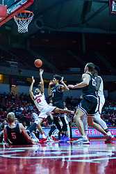 NORMAL, IL - October 23: Lijah Donnelly takes an off balanced shot during a college basketball game between the ISU Redbirds and the Truman State Bulldogs on October 23 2019 at Redbird Arena in Normal, IL. (Photo by Alan Look)