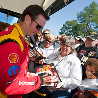 GAINESVILLE, FL - MAR 11, 2011:  NASCAR Sprint Cup Champion, Kurt Busch (201), prepares to drive his Shell Dodge on the first day of qualifying for the Tire Kingdom Gatornationals race at the Gainesville Raceway in Gainesville, FL.