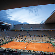 PARIS, FRANCE October 06. A general view of Dominic Thiem of Austria in action against Diego Schwartzman of Argentina in the Quarter Finals of the singles competition on Court Philippe-Chatrier during the French Open Tennis Tournament at Roland Garros on October 6th 2020 in Paris, France. (Photo by Tim Clayton/Corbis via Getty Images)