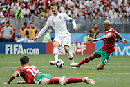 Cristiano Ronaldo of Portugal and Karim El Ahmadi of Morocco during the 2018 FIFA World Cup Russia, Group B football match between Portugal and Morocco on June 20, 2018 at Luzhniki stadium in Moscow, Russia - Photo Thiago Bernardes / FramePhoto / ProSportsImages / DPPI
