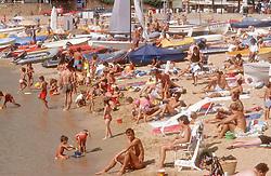 Beach scene at Tamariu; Catalonia Catalunya Spain,