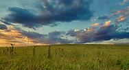 Kansas sunset in the Flint Hills countryside.