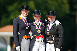 Podium Kur Young Riders <br /> 1. Cathrine Dufour (DEN)<br /> 2. Stephanie Kooyman (NED)<br /> 3. Juliette Piotrowski (GER)<br /> European Championship Dressage Young Riders<br /> Compiegne 2013<br /> © Dirk Caremans