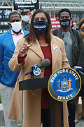 NEW YORK, NEW YORK: OCTOBER 24, 2020- New York State Attorney General Leticia James gives remarks at  press conference as Early Voting opens in New York City with anticipated large crowds waiting in lines for sometimes two or more hours to cast their votes at the Brooklyn Museum on October 24, 2020 in Brooklyn, New York.  (Photo by Terrence Jennings/terrencejennings.com)