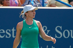 August 19, 2018 - Mason, Ohio, USA - Simona Halep (ROU) reacts to a shot during Sunday's final round of the Western and Southern Open at the Lindner Family Tennis Center, Mason, Oh. (Credit Image: © Scott Stuart via ZUMA Wire)