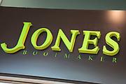 Sign for the brand and shoe shop Jones Bootmaker in Birmingham, United Kingdom.