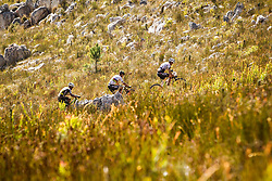 Christoph Sauser of Investec Songo Specialized leads Nino Schurter of Scott SRAM MTB Racing and Manuel Fumic of Cannonade Factory Racing up the main climb of the day during stage 1 of the 2017 Absa Cape Epic Mountain Bike stage race held from Hermanus High School in Hermanus, South Africa on the 20th March 2017<br /> <br /> Photo by Nick Muzik/Cape Epic/SPORTZPICS<br /> <br /> PLEASE ENSURE THE APPROPRIATE CREDIT IS GIVEN TO THE PHOTOGRAPHER AND SPORTZPICS ALONG WITH THE ABSA CAPE EPIC<br /> <br /> ace2016