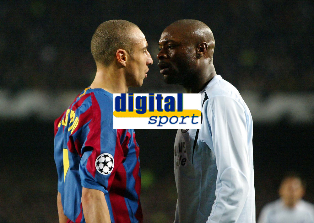 Photo: Chris Ratcliffe.<br /> Barcelona v Chelsea. UEFA Champions League. 07/03/2006.<br /> William Gallas and Henrik Larsson square up to each other