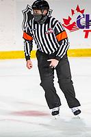 KELOWNA, BC - MARCH 26: Referee Ward Pateman skates at the Kelowna Rockets against the Victoria Royals at Prospera Place on March 26, 2021 in Kelowna, Canada. (Photo by Marissa Baecker/Shoot the Breeze)