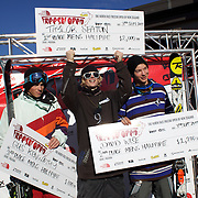 Taylor Seaton, USA, (centre) winner of the Men's Halfpipe Finals with David Wise, USA, (right) second place, and Gus Kenworth, USA, (left) third place during The North Face Freeski Open at Snow Park, Wanaka, New Zealand, 3rd September 2011. Photo Tim Clayton...