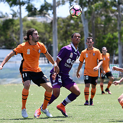 BRISBANE, AUSTRALIA - JANUARY 8: Jamal Reiners of the Glory and Jayden Prasad and Joe Caletti of the Roar compete for the ball during the round 8 Foxtel National Youth League match between the Brisbane Roar and Perth Glory at AJ Kelly Field on January 8, 2017 in Brisbane, Australia. (Photo by Patrick Kearney/Brisbane Roar)
