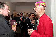 MICHAEL DAVIS; ANDREW LOGAN, THE LAUNCH OF THE KRUG HAPPINESS EXHIBITION AT THE ROYAL ACADEMY, London. 12 December 2011.