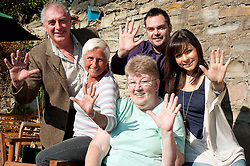 TV and Stage star Roxanne Pallett Joins Sheffield based Broadband Company Plusnet on a visit to Rydale Lodge Younger People Alzheimers Society Day Centre at Lane end Chapeltown to mark the handover of £5252 to Plusnets 2010-2011 charity.left to right Simon Wallace Alzheimers Society Area Fundraising Manage, Rydale Lodge atenders Betty Shipley and Josie Pickersgill, Ryan Hanily of Plusnet and Roxanne Pallett. 28th September2011. Image © Paul David Drabble