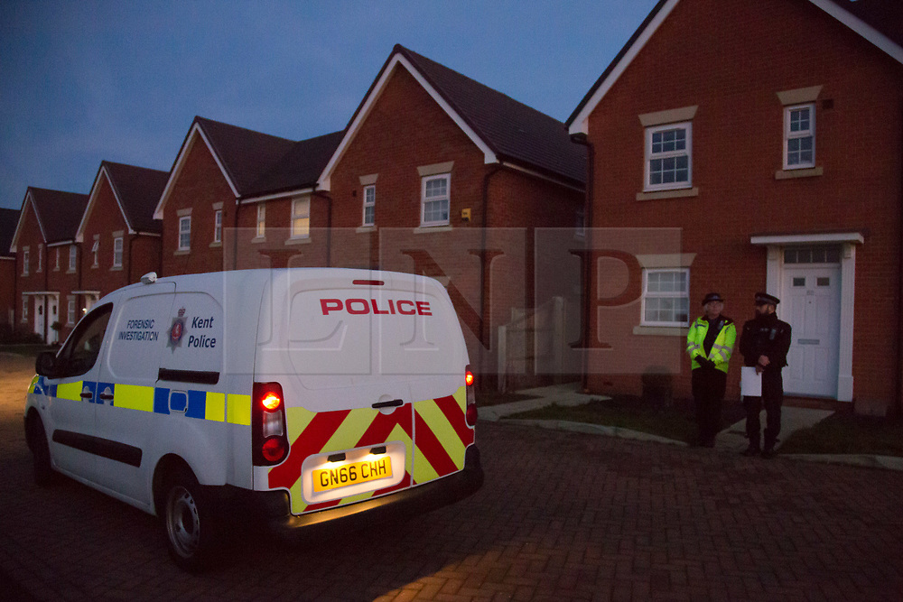 @Licensed to London News Pictures 27/12/2018. Margate, Kent. Kent Police officers stand outside the home of a 37-year old woman in Castle Drive, Margate today where two young children were removed  and taken to hospital where they were later declared dead. The woman is currently in police custody.  Photo credit: Manu Palomeque/LNP
