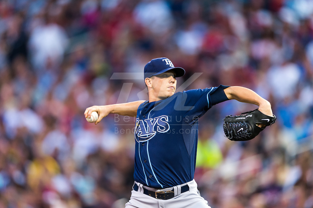 Jeremy Hellickson (58) of the Tampa Bay Rays pitches against the Minnesota Twins on August 10, 2012 at Target Field in Minneapolis, Minnesota.  The Rays defeated the Twins 12 to 6.  Photo: Ben Krause