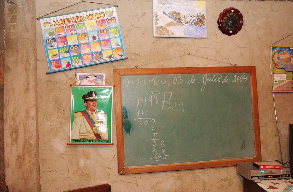 The chalkboard of a Mision Robinson literacy class in a private home in Campo Rico, a poor hillside shanty town in eastern Caracas on Tuesday August 3, 2004.  The literacy classes are one of numerous social programs that have come about during the Chavez presidency.