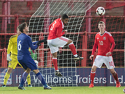WREXHAM, WALES - Thursday, November 10, 2016: Wales' Cole DaSilva in action against Stathis Lamprou of Greece during the UEFA European Under-19 Championship Qualifying Round Group 6 match at the Racecourse Ground. (Pic by Gavin Trafford/Propaganda)