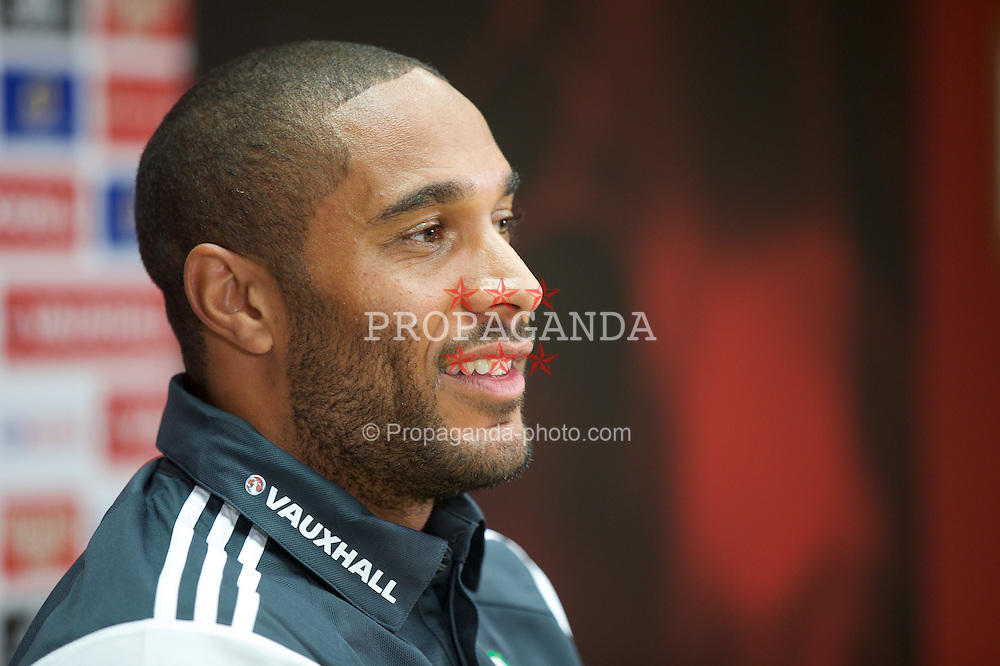 CARDIFF, WALES - Thursday, June 11, 2015: Wales' captain Ashley Williams during a press conference at the Cardiff City Stadium ahead of the UEFA Euro 2016 Qualifying Round Group B match against Belgium. (Pic by David Rawcliffe/Propaganda)