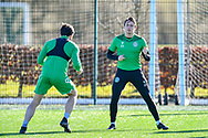 Scott Allan (#23) of Hibernian FC (right) during the training session for Hibernian FC at the Hibs Training Centre, Ormiston, Scotland on 26 February 2021, ahead of the SPFL Premiership match against Motherwell.