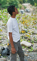 Timorese student Zito Afranio searches for lizards in a tree in the Liquica district of Timor-Leste (East Timor). He is participating in an ongoing survey of Timorese reptiles and amphibians.