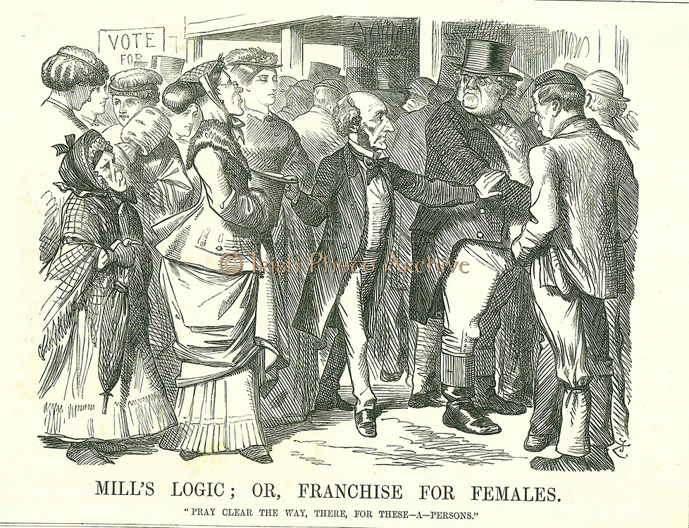 Mill's Logic; or, Franchise for Females': John Stuart Mill asking an indignant John Bull to make way for women to cast their vote. The figure foreground second from left is Lydia Ernestine Becker an advocate of female suffrage. John Tenniel cartoon from 'Punch', London, 30 March 1867.