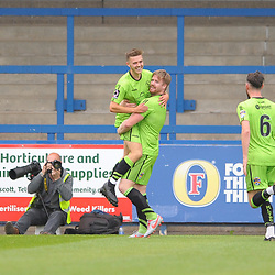 TELFORD COPYRIGHT MIKE SHERIDAN GOAL Alfie Payne celebrates after making it 3-0 to Kings Lynn during the National League North fixture between AFC Telford United and Kings Lynn Town at the Bucks Head on Tuesday, August 13, 2019<br /> <br /> Picture credit: Mike Sheridan<br /> <br /> MS201920-009