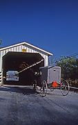 Amish horse and buggy at Lancaster Co., PA covered bridge