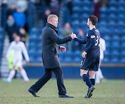 Falkirk's manager Gary Holt and Mark Millar at the end.<br /> Raith Rovers 2 v 4 Falkirk, Scottish Championship game today at Starks Park.<br /> © Michael Schofield.