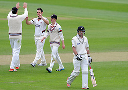 Somerset's Jim Allenby celebrates the wicket of New Zealand's Luke Ronchi. Photo mandatory by-line: Harry Trump/JMP - Mobile: 07966 386802 - 10/05/15 - SPORT - CRICKET - Somerset v New Zealand - Day 3- The County Ground, Taunton, England.