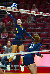 BLOOMINGTON, IL - September 15: Kaitlyn Lines during a college Women's volleyball match between the ISU Redbirds and the Marquette Golden Eagles on September 15 2019 at Illinois State University in Normal, IL. (Photo by Alan Look)