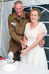 1940's Wedding Lytham The Bride Kath Plummer and groom Andy Hacking married at Saint John The Divine Church Lytham with Reverend Jack Wixon had thier reception in a marquee on Lytham Green.19 August 2011  Image © Paul David Drabble